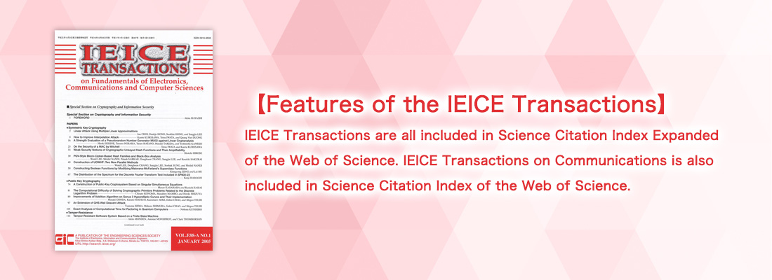 Ieice The Institute Of Electronics Information And